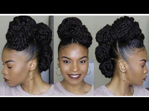 Natural Hair Faux Mohawk Updo Using Marley Braiding Hair | How To throughout Braided Mohawk Bun Hairstyles