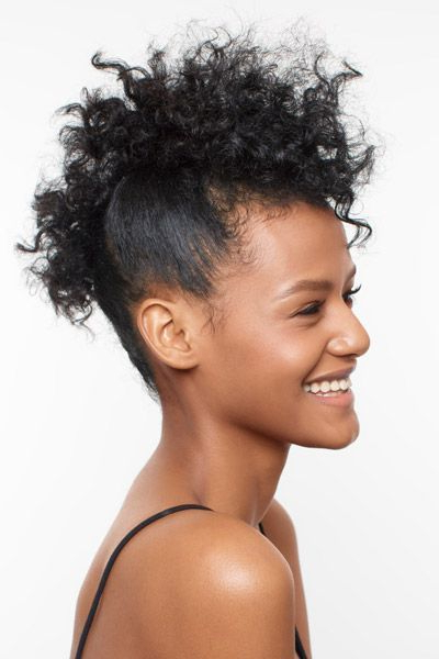 Natural Hair How-To: Curly Faux Hawk | Hair Ideas | Curly in Faux Mohawk Hairstyles With Springy Curls