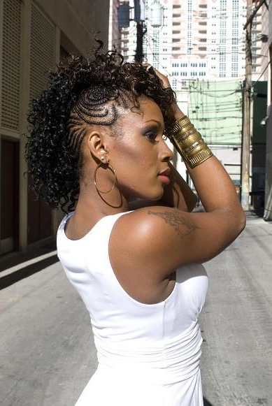 Natural Hair Mohawk Braided To The Side | Braided Mohawk inside Side Braided Curly Mohawk Hairstyles
