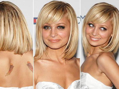 Nicole Richie Blonde Bob Hairstyle With Side Swept Bangs Regarding Blonde Bob Haircuts With Side Bangs (View 15 of 25)