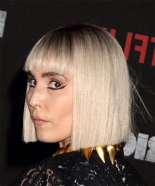 Noomi Rapace Short Straight Light Blonde Bob Haircut With throughout Blonde Blunt Haircuts Bob With Bangs
