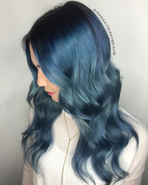 Ocean Hair Trend Is Taking Blue Hair To The Next Level Pertaining To Black And Denim Blue Waves Hairstyles (View 9 of 25)