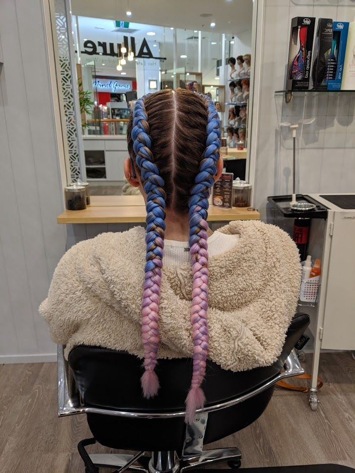 Pastel Blue Purple And Pink Dutch Braids, Festival Style In Blue Braided Festival Hairstyles (View 5 of 25)