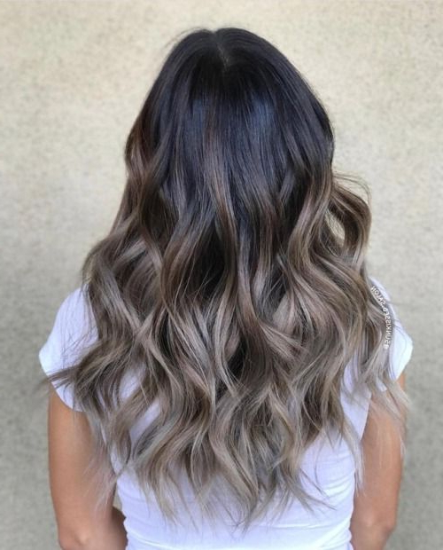 Picture Of An Ombre Hairstyle On A Black Hair in Black To Light Brown Ombre Waves Hairstyles
