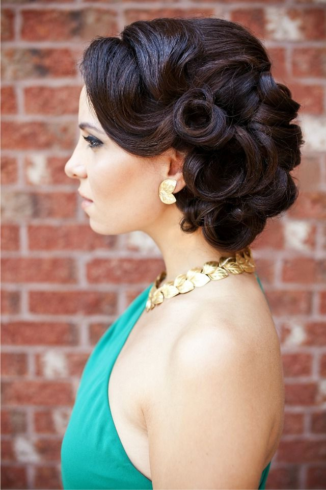 Pin Curl Side Bun | Retro Hairstyles, Hair Inspiration, Hair throughout Retro Side Hairdos With Texture