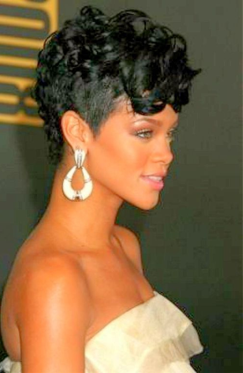 Pin On African American Short Hair Cuts throughout Rihanna Black Curled Mohawk Hairstyles