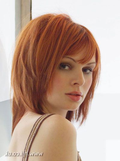 Pin On Hair/beauty regarding Medium-Length Red Hairstyles With Fringes