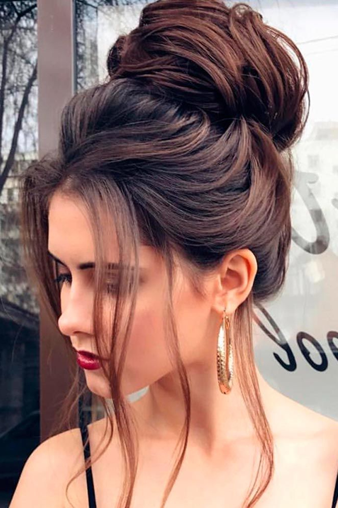 Pin On Hair with High Bun With Twisted Hairstyles Wrap And Graduated Side Bang