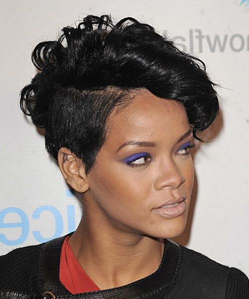 Pin On Hair within Rihanna Black Curled Mohawk Hairstyles