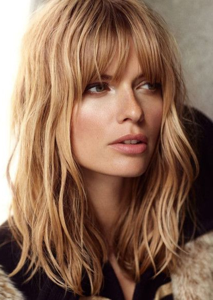 Pin On Hairz throughout Wavy Long Bob Hairstyles With Bangs