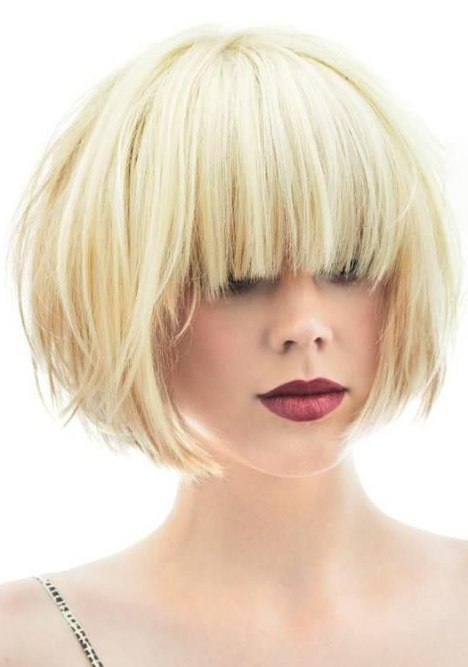 Pin On I Heart Bob throughout Blonde Blunt Haircuts Bob With Bangs