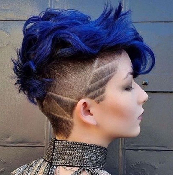 Pin On Pixie & Hawks intended for Blue Hair Mohawk Hairstyles