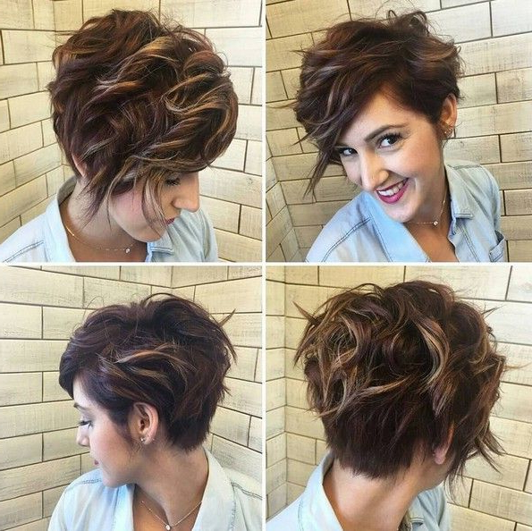 Pin On Short Curly Hairstyles within Curly Pixie Haircuts With Highlights