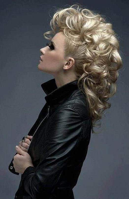 Pinjatai International On Great Women's Hairstyles! In within Big Curly Updo Mohawk Hairstyles