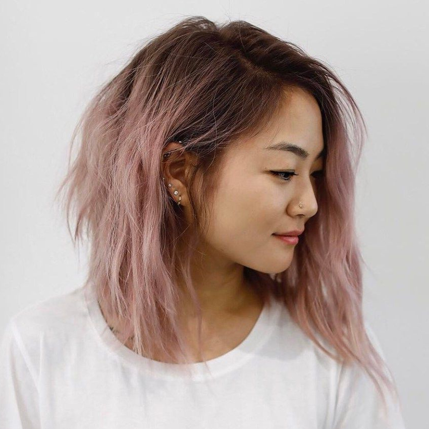 Pink Asymmetrical A Line Bob | Hairstyles In 2019 | Asian Throughout Pink Asymmetrical A Line Bob Hairstyles (View 2 of 25)