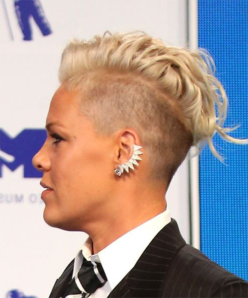Pink Short Wavy Light Platinum Blonde Mohawk Hairstyle intended for Blonde Curly Mohawk Hairstyles For Women