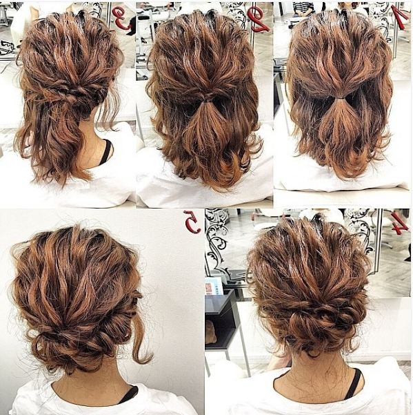 Pinlyss Laurens On Short Hairstyles In 2019 | Simple With Regard To Cute Bob Hairstyles With Bun (View 6 of 25)