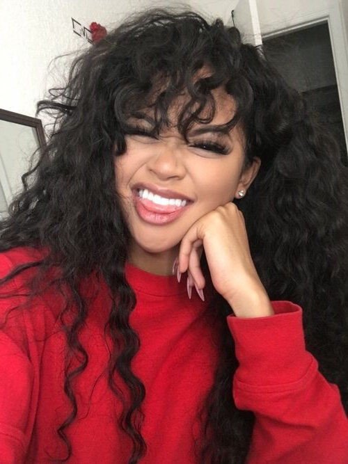 Pinterest//escxpesociety In 2019   Curly Hair With Bangs within Soft And Casual Curls Hairstyles With Front Fringes