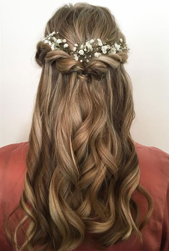 Pretty Half Up Half Down Hair Style Idea+ Using Flowers As In Long Half Updo Hairstyles With Accessories (View 4 of 25)