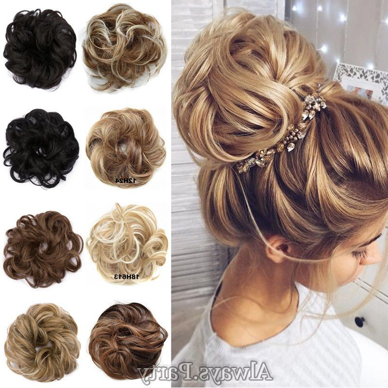 Real Natural Curly Messy Bun Hair Piece Scrunchie New Fake Regarding Messy Updo Hairstyles With Free Curly Ends (View 4 of 25)