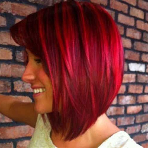 Red And Bright Red Hair @paula Manc Manc Mayo This Is Cute With Regard To Bright Bob Hairstyles (View 17 of 25)