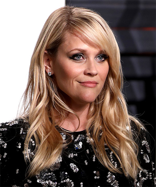 Reese Witherspoon Long Wavy Light Blonde Hairstyle With Side Within Long Wavy Hairstyles With Side Swept Bangs (View 25 of 25)