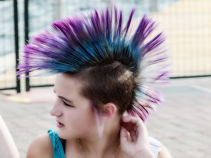 Royalty Free Photo: Woman With Purple And Blue Mohawk Intended For Blue Hair Mohawk Hairstyles (View 23 of 25)