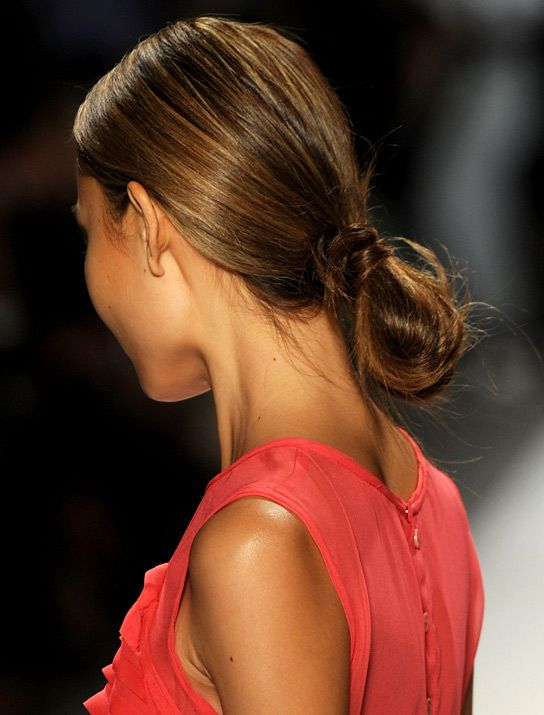 Runway Fashion Week Buns Loop In Ponytail Holder Then Wrap Within High Looped Ponytail Hairstyles With Hair Wrap (View 13 of 25)