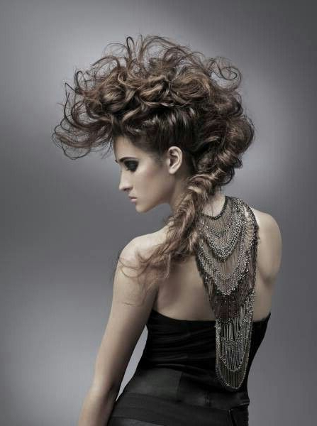 Runway Model Hair; Curled And Teased Mohawk | Editorial Hair With Regard To Teased Long Hair Mohawk Hairstyles (View 4 of 25)