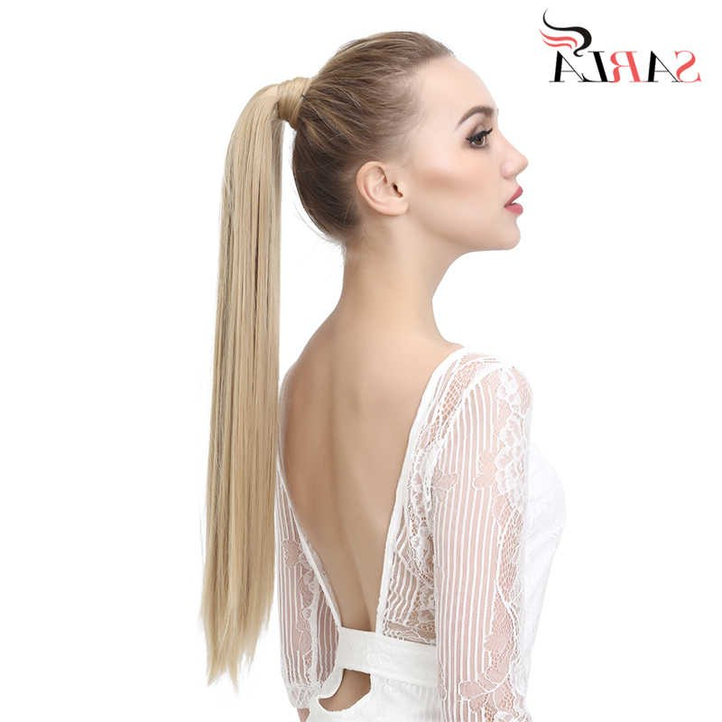 """Sarla 24"""" 28"""" 10Pcs Straight Synthetic Clip In Wrap Around Pertaining To High Long Ponytail Hairstyles With Hair Wrap (View 11 of 25)"""