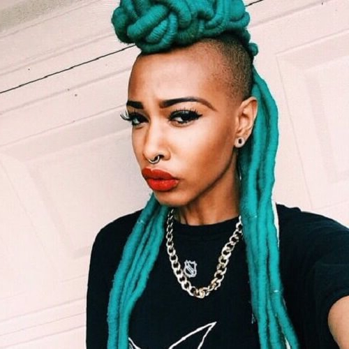 Shaved Hairstyles For Black Women: 50 Wicked Cool Ways To Throughout Turquoise Side Parted Mohawk Hairstyles (View 23 of 25)