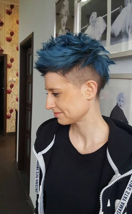 Short, Blue, Cropped Hair With Shaved Sides | Hairstyles Within Blue Hair Mohawk Hairstyles (View 19 of 25)