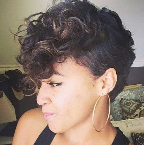 Short Curly Hair With Lowlights | Hair | Short Curly Hair Pertaining To Pixie Mohawk Haircuts For Curly Hair (View 5 of 25)