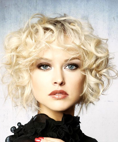 Short Curly Light Platinum Blonde Shag Hairstyle With In Blonde Pixie Haircuts With Curly Bangs (View 3 of 25)