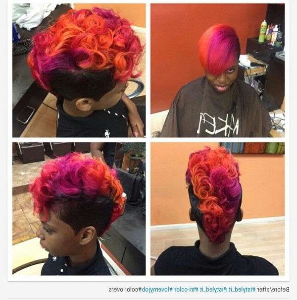 Short Hair Mohawk With Sunset Oranges And Purple Colors In Pertaining To Icy Purple Mohawk Hairstyles With Shaved Sides (View 20 of 25)