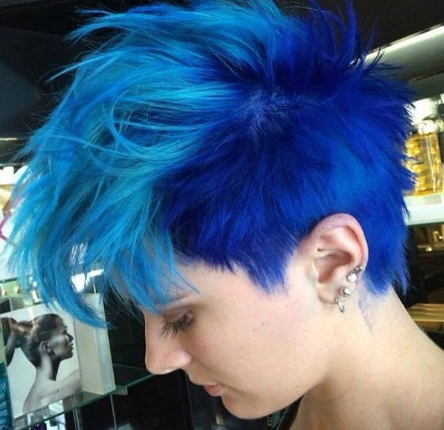 Short, Pixie, Blue Hairstyle With Light Blue Mohawk With Regard To Blue Hair Mohawk Hairstyles (View 9 of 25)