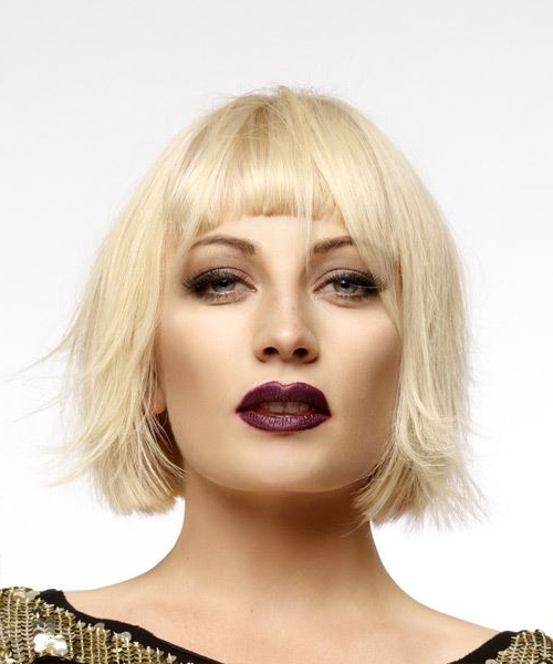 Short Straight Light Blonde Bob Haircut With Blunt Cut Bangs In Blonde Blunt Haircuts Bob With Bangs (View 14 of 25)