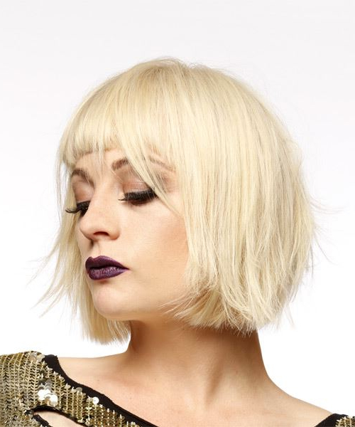 Short Straight Light Blonde Bob Haircut With Blunt Cut Bangs In Blonde Blunt Haircuts Bob With Bangs (View 5 of 25)