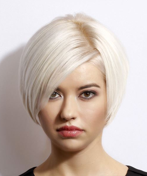 Short Straight Light Blonde Bob Haircut With Side Swept Bangs For Messy Short Bob Hairstyles With Side Swept Fringes (View 8 of 25)