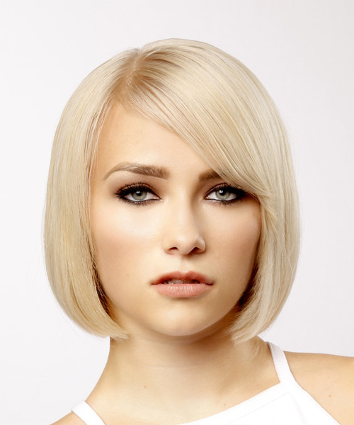 Short Straight Light Blonde Bob Haircut With Side Swept Bangs Inside Blonde Bob Haircuts With Side Bangs (View 5 of 25)