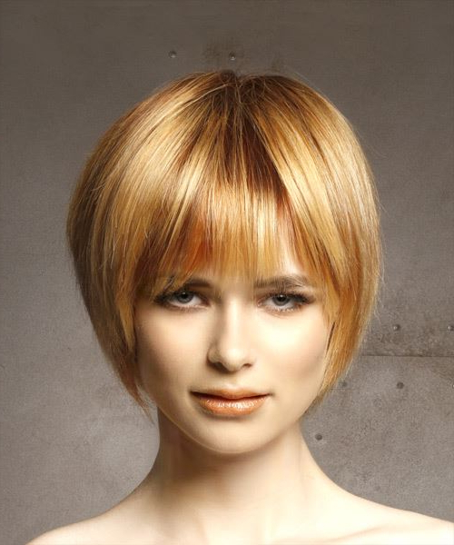 Short Straight Light Red Bob Haircut With Layered Bangs For Hort Bob Haircuts With Bangs (View 20 of 25)