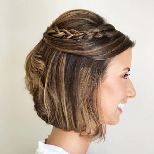 The 19 Cutest Updos For Short Hair In 2019 Inside Cute Bob Hairstyles With Bun (View 10 of 25)
