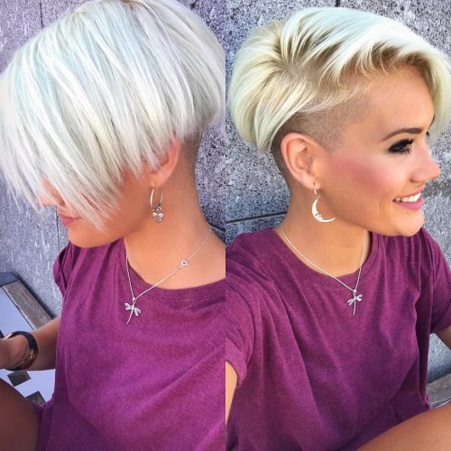 The Short Pixie Cut – 42 Great Haircuts You'll See For 2019 Intended For Icy Purple Mohawk Hairstyles With Shaved Sides (View 17 of 25)