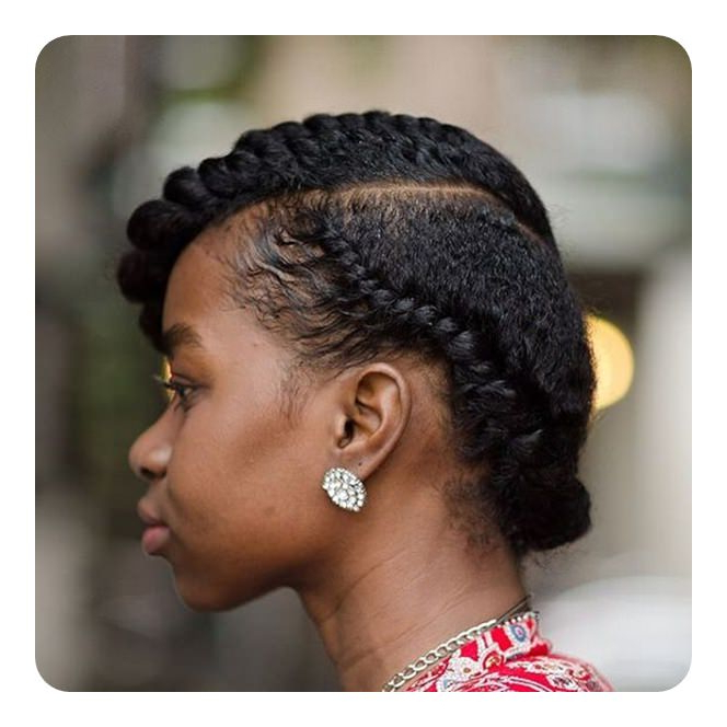 Tired Of Cornrows? 86 Coolest Flat Twist To Try This 2018! Pertaining To High Bun With Twisted Hairstyles Wrap And Graduated Side Bang (View 8 of 25)