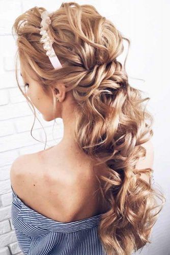 Try 42 Half Up Half Down Prom Hairstyles | Lovehairstyles Throughout Long Half Updo Hairstyles With Accessories (View 15 of 25)