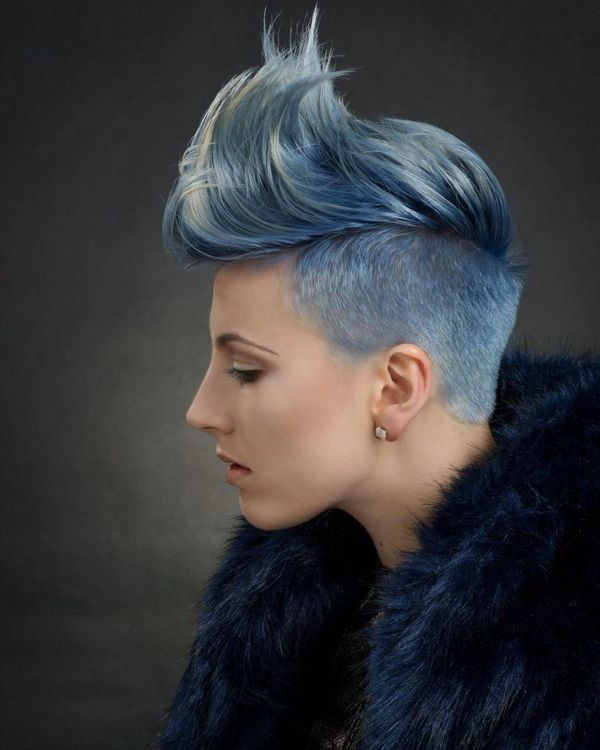 Undercut, Blue, Silver, Gray In 2019 | Short Punk Hair Pertaining To Blue Hair Mohawk Hairstyles (View 10 of 25)