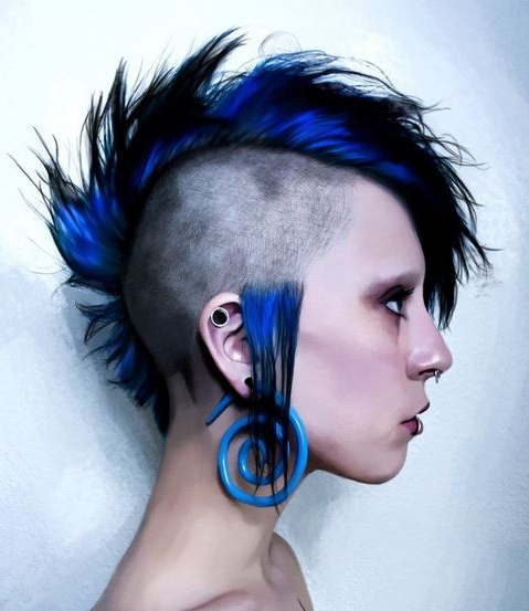 Unique Mohawk Punk Women Hairstyle With Blue Hair Color Intended For Blue Hair Mohawk Hairstyles (View 14 of 25)
