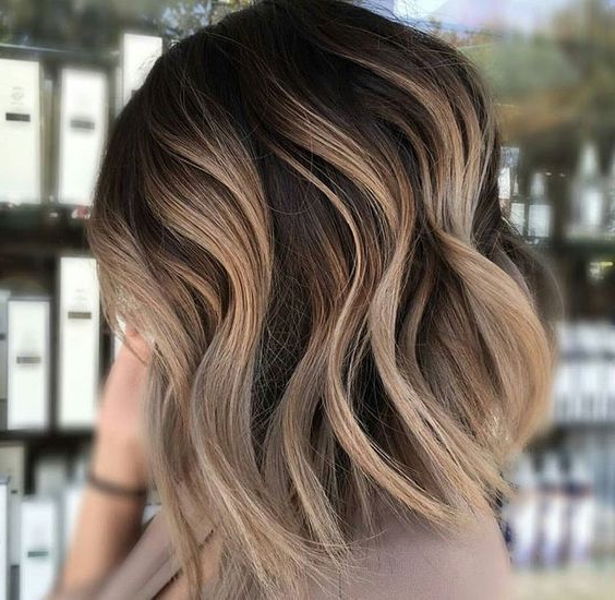 Waves Ashy Ombre Short Dark Brown Light | Carmel Blonde Hair Regarding Black To Light Brown Ombre Waves Hairstyles (View 4 of 25)