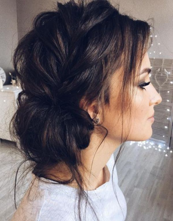 Wondering How To Do A Messy Bun? Pertaining To Elegant Messy Updos With Side Bangs (View 18 of 25)