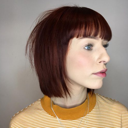 17 Hottest Short Bob With Bangs You'll See In 2019 With Purple Tinted Off Centered Bob Hairstyles (View 18 of 25)